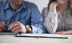 Divorce paperwork and rings