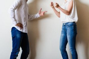 Contested divorce couple arguing